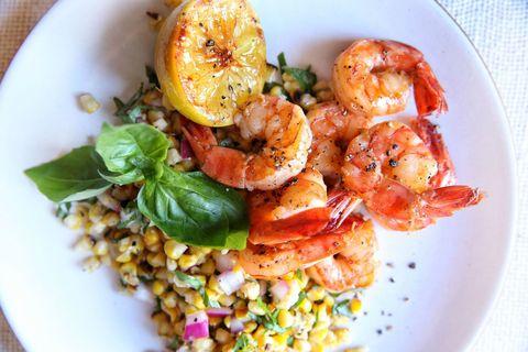 Lemon Shrimp with Basil-Corn Salad Recipe