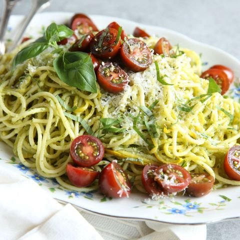 pesto spaghetti with summer squash recipe
