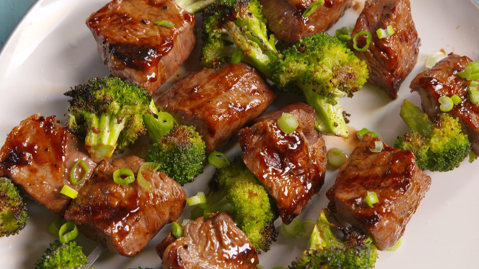 Beef, Orange Broccoli Kebabs