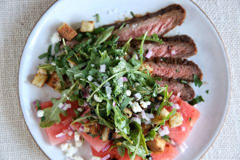 BBQ Flank Steak with Watermelon Salad Recipe