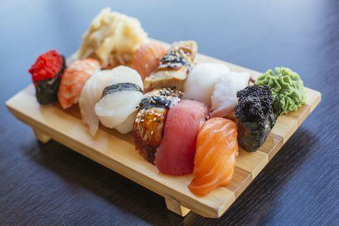 Dish, Food, Cuisine, Sushi, Ingredient, Sakana, Comfort food, Sashimi, Japanese cuisine, California roll,