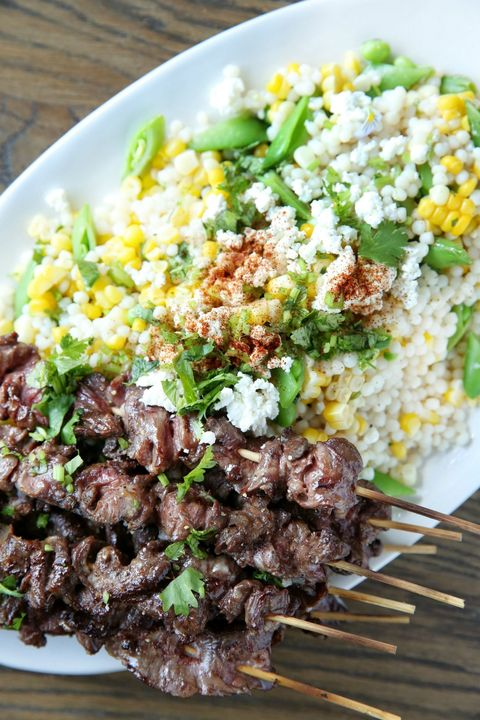 Steak Skewers with Mexican Corn Couscous Salad Recipe