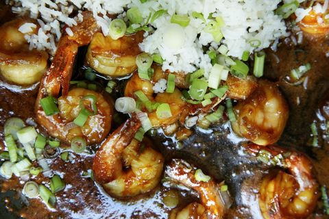 sticky ginger shrimp with scallion rice recipe