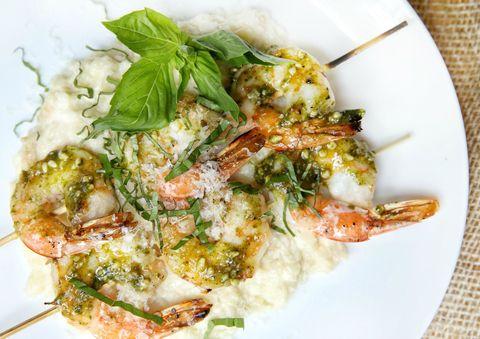 Pesto Shrimp Skewers with Cauliflower Mash Recipe