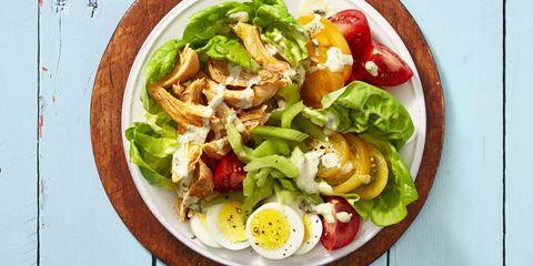 Dish, Food, Cuisine, Salad, Garden salad, Ingredient, Caesar salad, Meat, Produce, Vegetable,