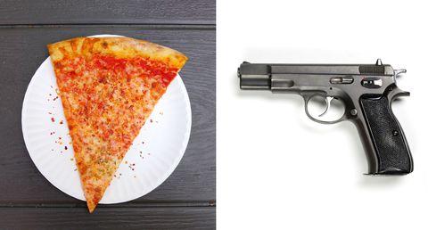 Gun, Firearm, Trigger, Pizza, Ingredient, Food, Baked goods, Amber, Dish, Recipe,
