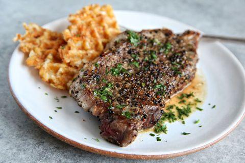 Steak au Poivre with Tater Tot Waffles Recipe