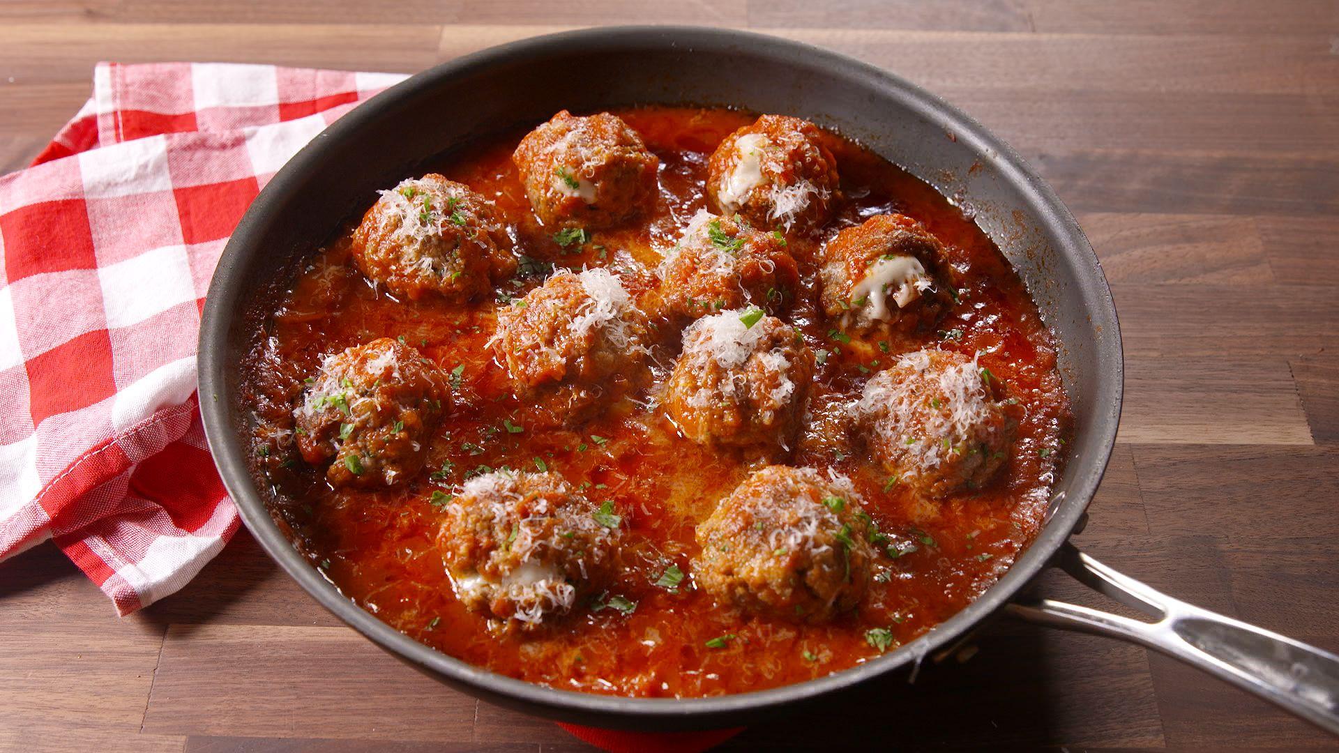 Cheese Stuffed Meatballs Recipe Delish Com