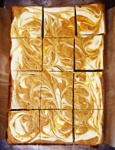 Pumpkin Spice Blondies with Cheesecake Swirl Recipe