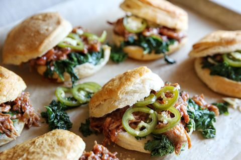 pulled pork and kale biscuit sandwiches recipe
