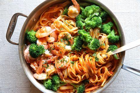 Creamy Tomato Fettuccine with Shrimp and Broccoli Recipe