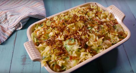 bacon brussels sprouts noodle bake