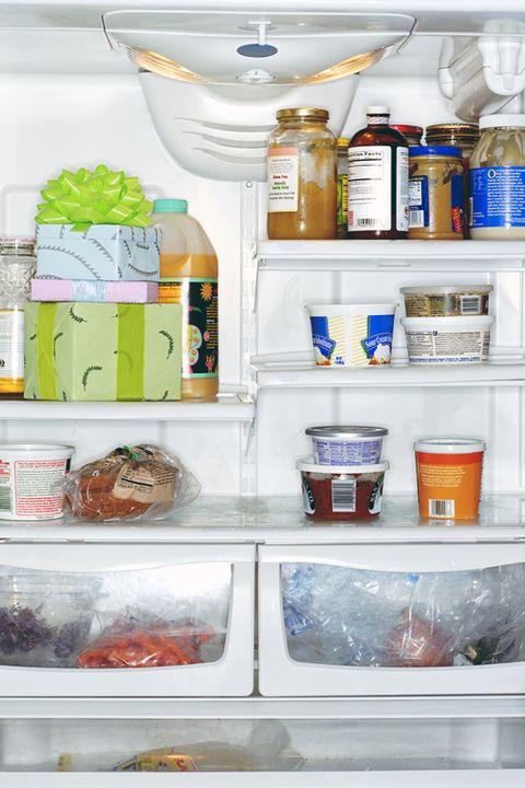 Liquid, Plastic bottle, Freezer, Food storage containers, Major appliance, Kitchen appliance, Bottle, Home appliance, Refrigerator, Shelving,