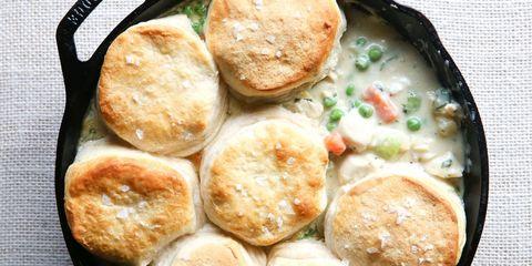 Skillet Chicken Pot Pie with Biscuits Horizontal