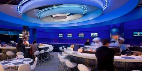 Furniture, Restaurant, Display device, Multimedia, Company, Convention, Computer,