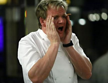 gordon ramsay pretended to cut his finger off in a blender