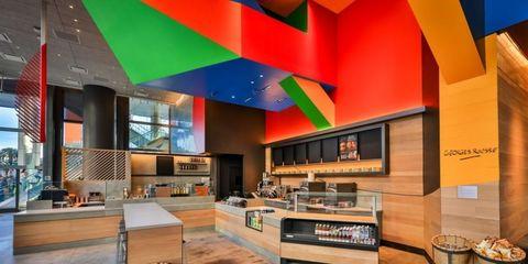 Interior design, Ceiling, Colorfulness, Interior design, Countertop, Plywood, Restaurant,