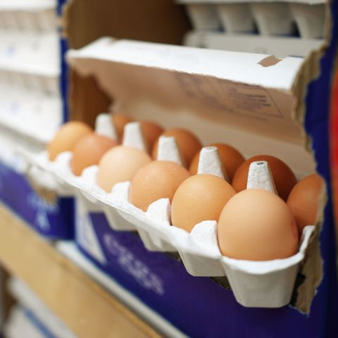 Carton of eggs at grocery store