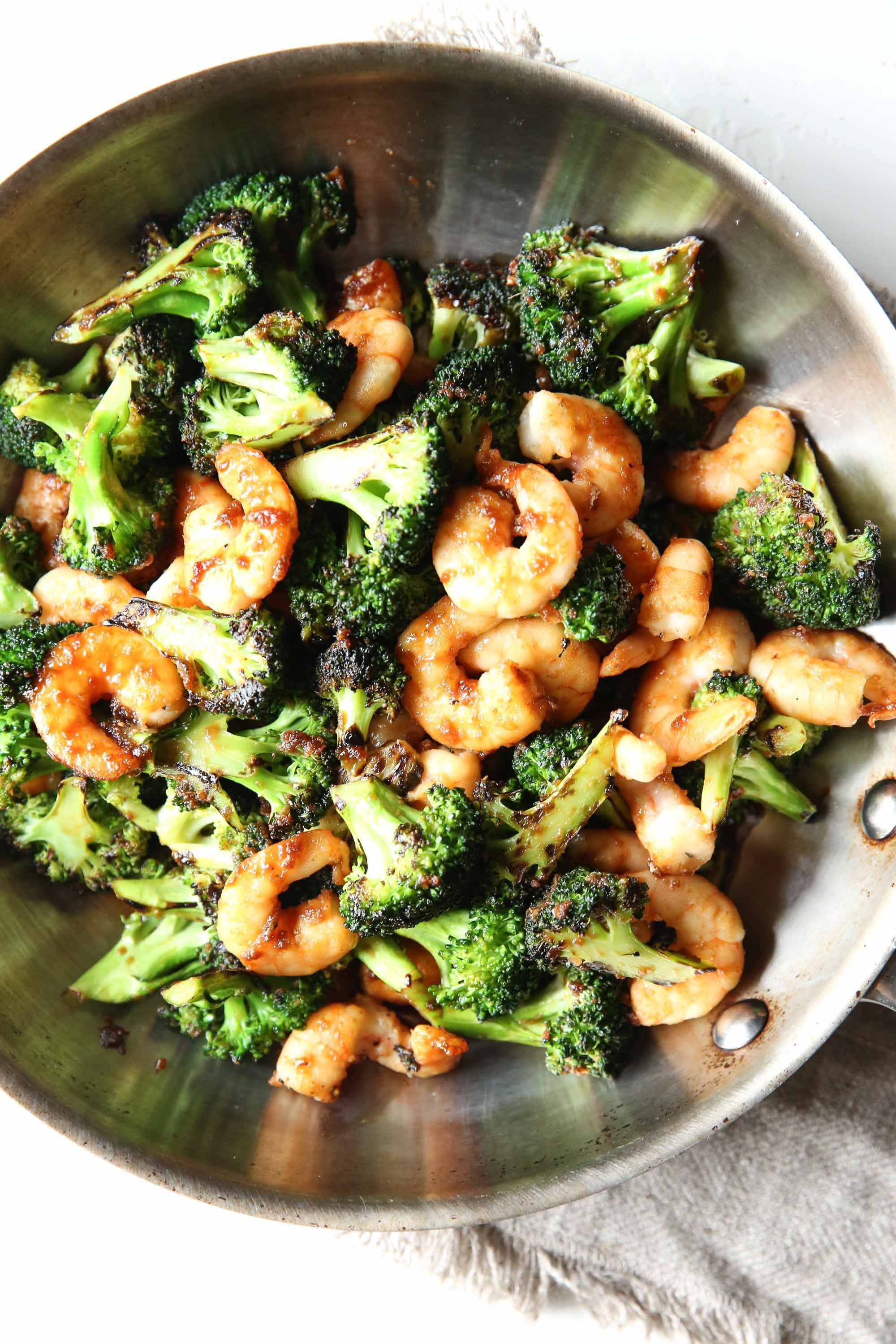 Mongolian Shrimp and Broccoli Vertical