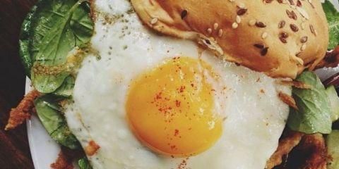 Dish, Fried egg, Food, Cuisine, Breakfast, Ingredient, Meal, Egg yolk, Poached egg, Egg,
