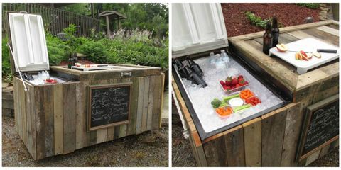 This DIY Rustic Cooler Was Converted From a Broken Refrigerator