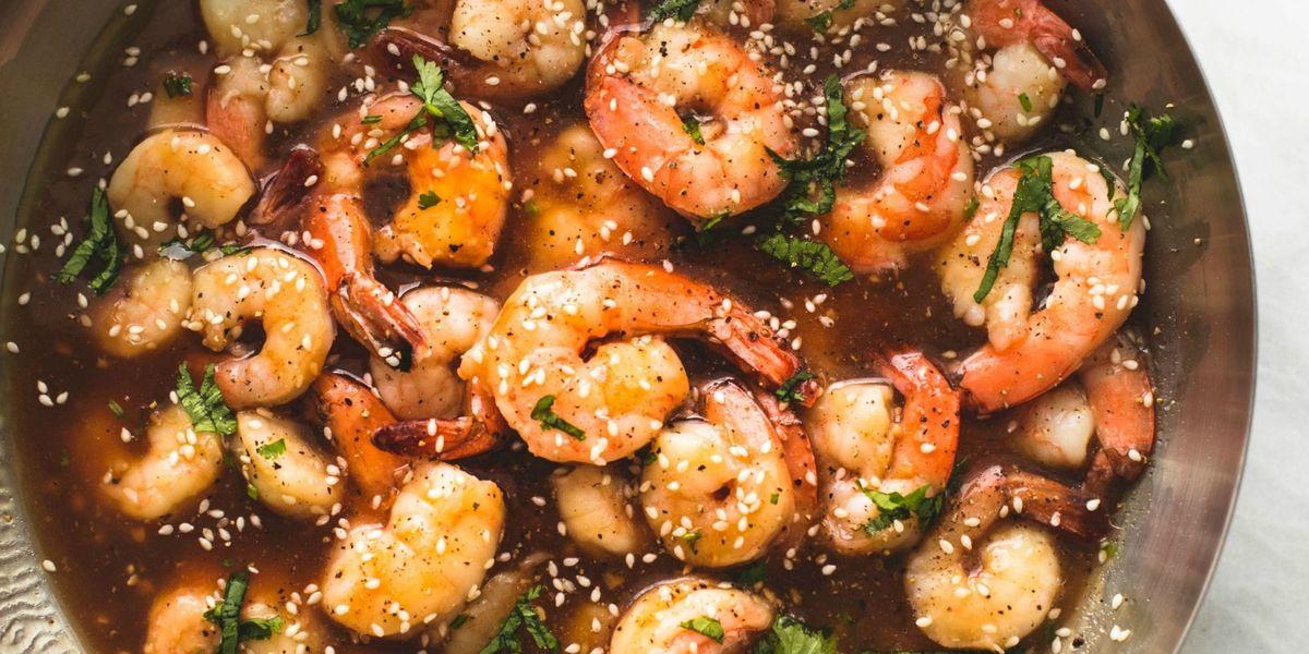 Best Sesame Teriyaki Shrimp Recipe How To Make Sesame Teriyaki Shrimp Delish Com