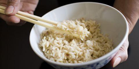 Food, Dish, Steamed rice, White rice, Cuisine, Ingredient, Chopsticks, Rice, Jasmine rice, Basmati,