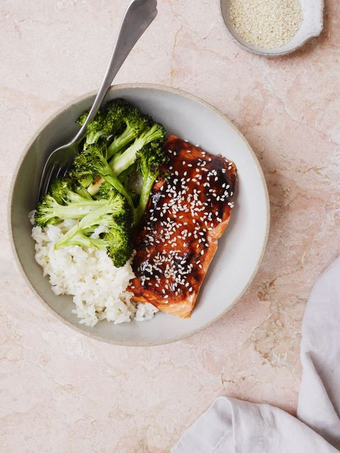 hoisin glazed salmon with broccoli and sesame rice vertical