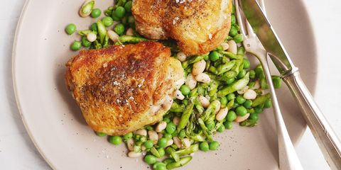 Garlicky Chicken Thighs with Asparagus, Pea, and White Bean Salad Horizontal
