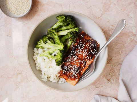 Hoisin-Glazed Salmon with Broccoli and Sesame Rice Horizontal