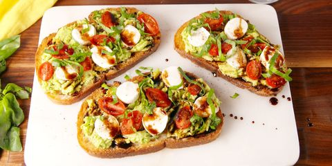 70 best healthy snack ideas easy recipes for healthier work caprese avocado toast forumfinder Choice Image