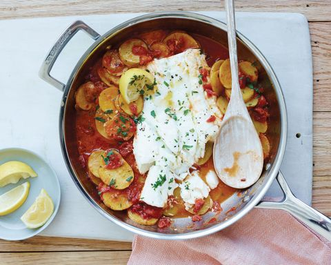 Cod with Garlicky Tomatoes and Potatoes Horizontal