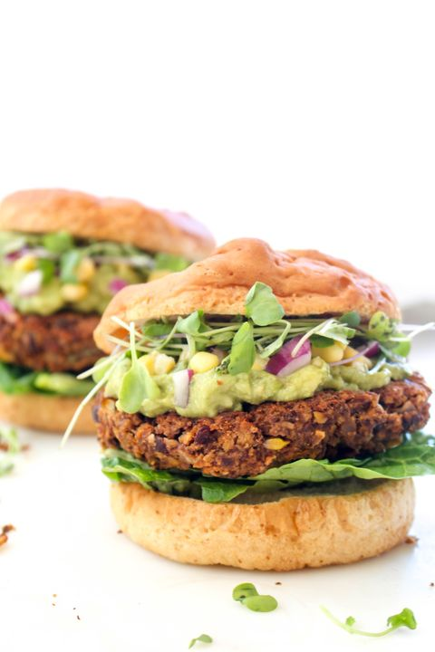 Dish, Food, Cuisine, Ingredient, Veggie burger, Salmon burger, Hamburger, Produce, Buffalo burger, Vegan nutrition,