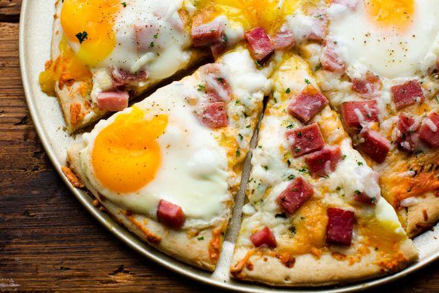 Ham Egg & Cheese Breakfast Pizza Horizontal