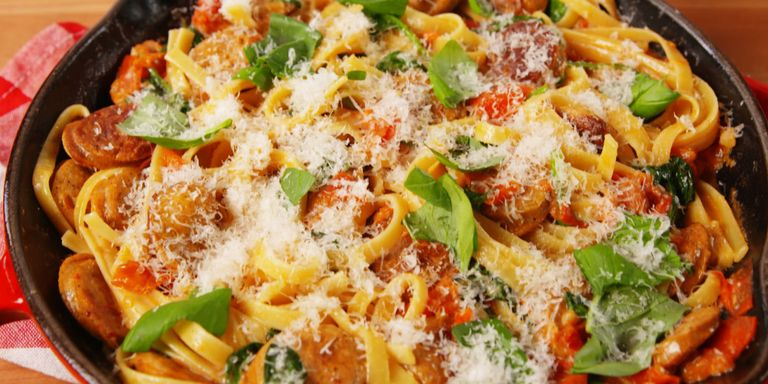 16 easy italian side dishes best recipes for italian sidesdelish creamy tuscan sausage pasta forumfinder Image collections