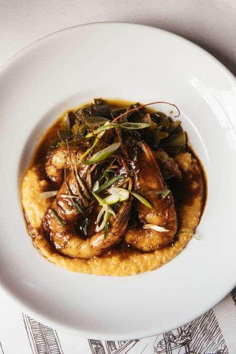 Barbecue Shrimp with Pimiento Cheese Grits at Bayona Beauty
