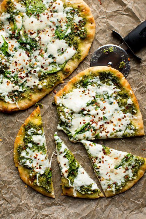 spinach pesto  mozzarella flatbread vertical