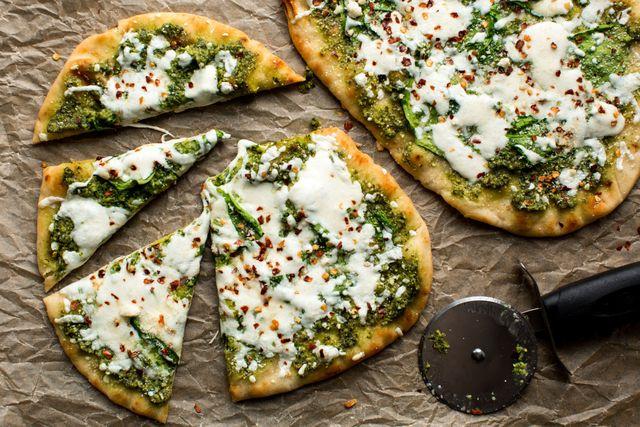 Spinach Pesto & Mozzarella Flatbread Horizontal