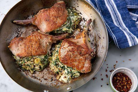 Spinach & Artichoke Stuffed Pork Chops Horizontal