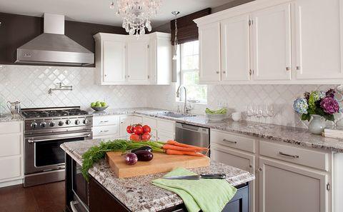 Countertop, Cabinetry, Kitchen, Room, White, Furniture, Property, Interior design, Kitchen stove, Building,