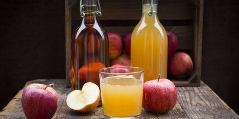 Apple cider vinegar, Drink, Glass bottle, Apple, Fruit, Still life photography, Food, Still life, Juice, Shrub,