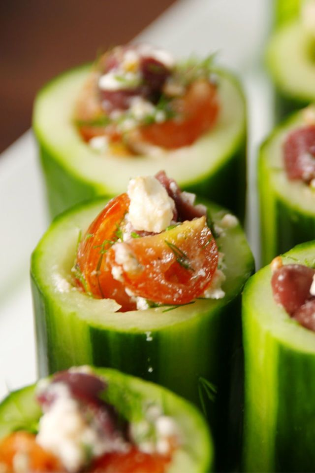 Greek Cucumber Cups. 25 Easy Appetizers for Memorial Day! #easy #appetizer #Greek #salad