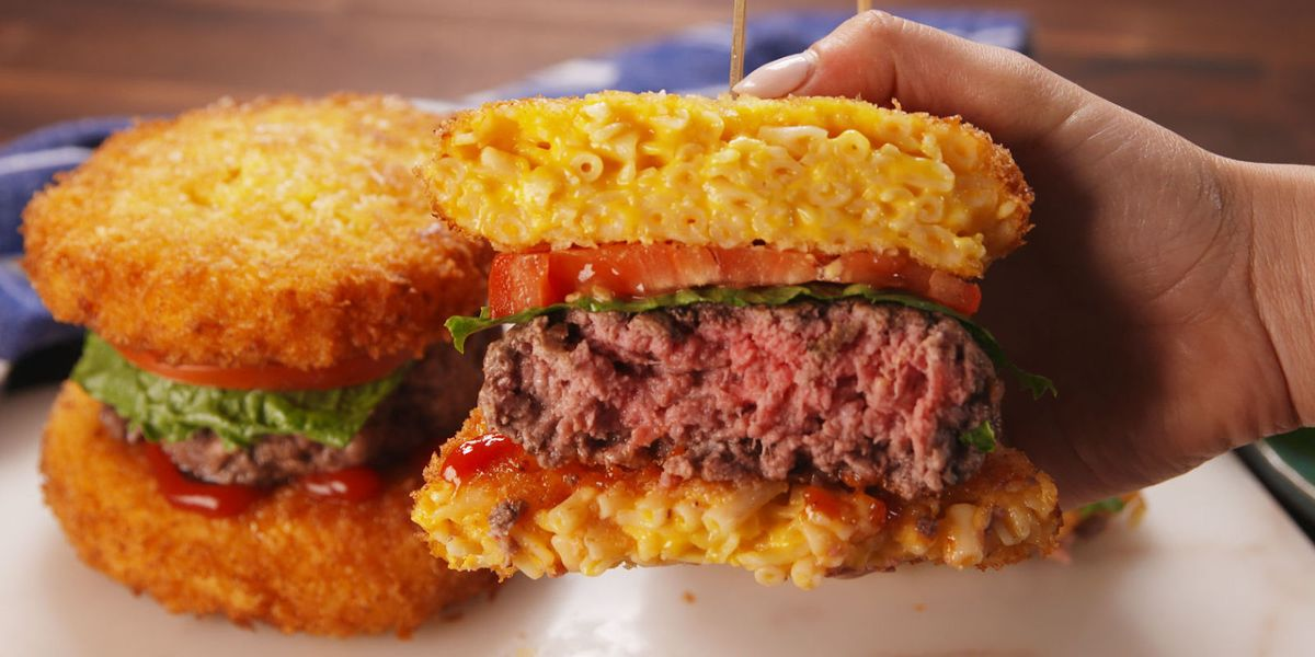 best mac cheese bun burgers recipe how to make mac cheese bun burgers. Black Bedroom Furniture Sets. Home Design Ideas