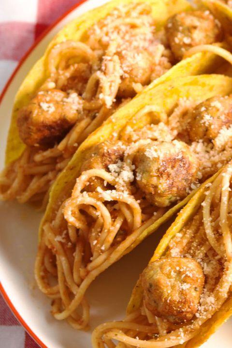 Spaghetti & Meatball Tacos Vertical