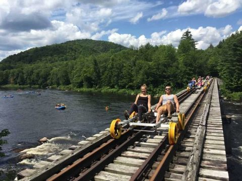 Transport, Track, Bridge, Wilderness, Sky, Water, Mountain, River, Tourism, Vehicle,