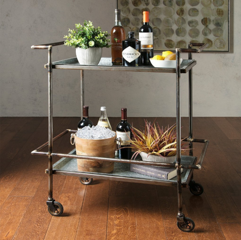 Furniture, Shelf, Table, Iron, Kitchen cart, Wine bottle, Room, Glass, End table, Metal,