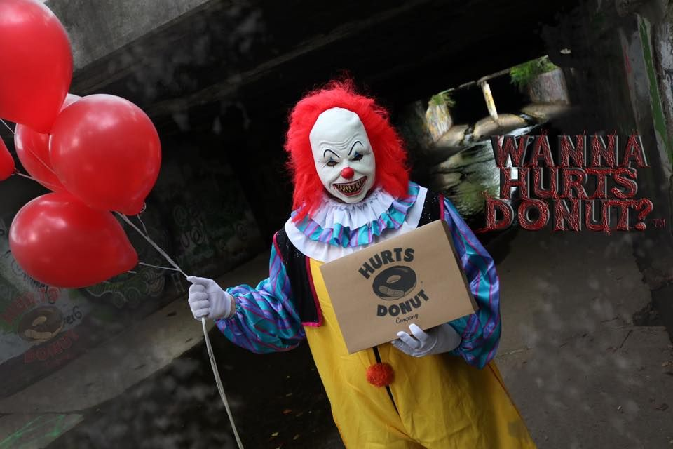 Halloween Clown.You Can Get A Scary Clown To Deliver Doughnuts To Your Friends