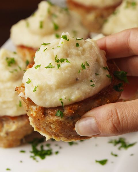 muffin tin turkey meatloaves with garlic mashed potatoes