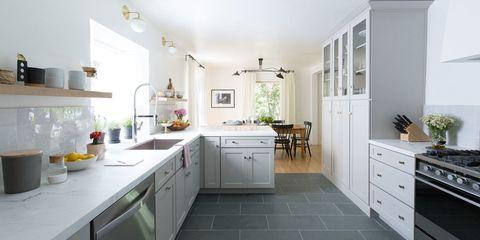Room, Property, Furniture, Countertop, Kitchen, White, Cabinetry, Floor, Interior design, Building,