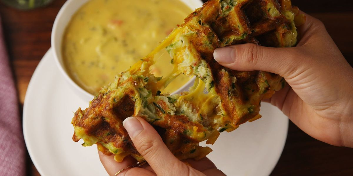 Best Zucchini Waffle Grilled Cheese With Broccoli Cheddar Soup Recipe Delish